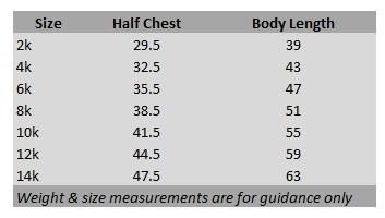 Kids T-Shirt Measurement Chart
