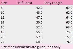 Ladies Shirt Size Chart