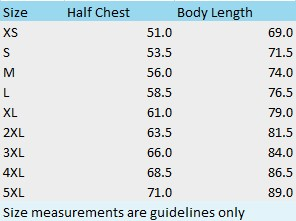 Mens Shirt Size Chart