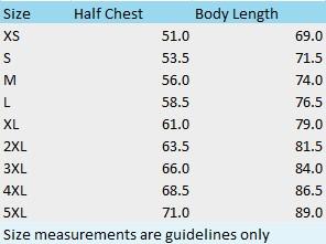 Mens Shirt Size Chart